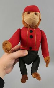 Antique 1920s German Schuco Yes-No Mechanical Bellhop Stuffed Mohair Monkey Toy