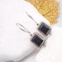 Onyx schwarz black eckig Design Ohrringe Ohrhänger Haken 925 Sterling Silber neu