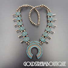 L HENDERSON NAVAJO 925 SILVER TURQUOISE CORAL REVERSIBLE SQUASH BLOSSOM NECKLACE