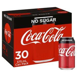 30-Multi Pack Coca-Cola Classic No Sugar Coke Soft Drink Refreshment 375mL