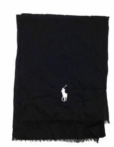 $257 Polo Ralph Lauren Men's Black White Cotton Lightweight Pony Logo Scarf O/S