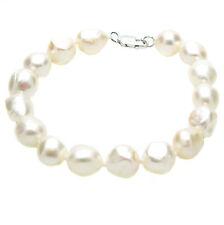 Baroque Pearl Bracelet Sterling Silver Large Natural Cultured Freshwater Pearls