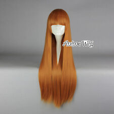 80CM Orange Long Straight Hair for Spice and Wolf Holo Cosplay Wig With Bangs