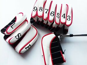 11 x Red Ultimate Golf Iron Head Covers to suit Ping, Titleist, Callaway, Mizuno