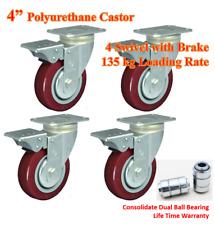 "4"" Dual Ball Bearing Polyurethane Castor Wheels, 4 x Swivel Castors with Brake"