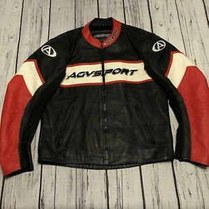 Men's AGV Sport Size 48 Padded Leather Motorcycle Jacket Red Black White