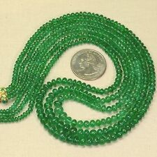 190 ct 100% Natural Zambian EMERALD Smooth Plain Roundel Beads 3 Strand Necklace