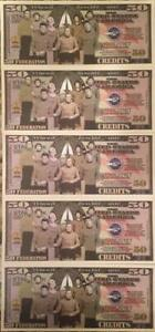 STAR TREK 50 FEDERATION CREDITS LOT of (5) NOVELTY NOTES GREAT GIFT BUY FROM USA
