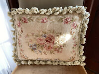 Antique 19th C French Aubusson Needlepoint Pillow Wool Flowers Velvet Feathers