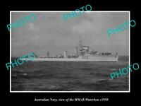OLD LARGE HISTORIC PHOTO OF AUSTRALIAN NAVY SHIP HMAS WATERHEN c1950