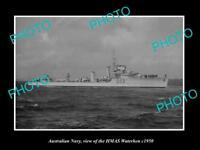 OLD LARGE HISTORIC PHOTO OF AUSTRALIAN NAVY SHIP HMAS WATERHEN c1950