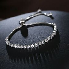 SILVER PLATED MADE WITH SWAROVSKI CRYSTALS CHAIN BRACELET FRIENDSHIP GIFT SP2
