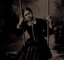 OLD VINTAGE ANTIQUE TINTYPE PHOTO BEAUTIFUL SAD LONELY YOUNG TEEN GIRL ON SWING