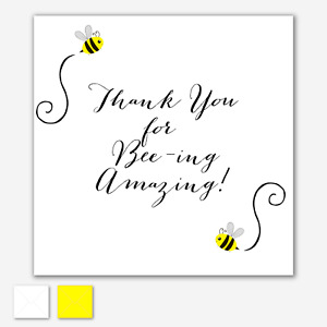 THANK YOU CARD Quote Friend Any Glittered Accents Relative Bumble Bee OPTIONS