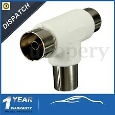 Male to 2x Female Adapter 2 Way TV T Splitter Aerial Coaxial Cable Connectors