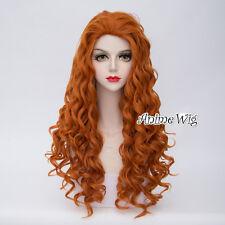 80cm Lolita Orange Curly Women Girls Ladies Heat Resistant Cosplay Wig + Cap