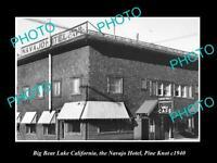 OLD LARGE HISTORIC PHOTO OF BIG BEAR LAKE CALIFORNIA, THE NAVAJO HOTEL c1940