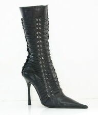 Gianmarco Lorenzi Leather Pointy Toe Below Knee  Lace Up Boots  Black Size 36