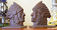 PAIR OF VINTAGE INDIAN CHIEF CAST IRON BOOKEND DOORSTOP GIFT RARE 2 PC SET