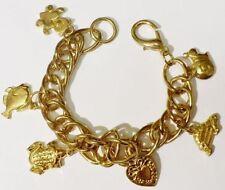 Bijou Vintage bracelet maillon gourmette couleur or animaux coeur gravé A13