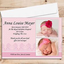 10 Personalised New Baby Girl Birth Announcement PHOTO Thank You Cards N1