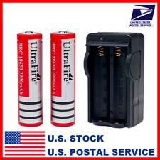 UKAj910 2 x UltraFire 18650 3000mAh 3.7V Li-ion Rechargeable Battery and Changer