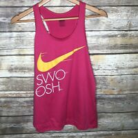 Nike Swoosh Spellout Tank Top Womens M Dri-fit Pink Workout Gym Shirt Athletic