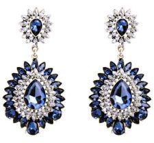 SAPPHIRE BLUE & CLEAR WHITE CRYSTAL RHINESTONE Silver Chandelier Flower Earrings