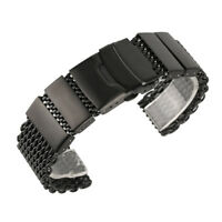 20/22/24mm Black Silver Stainless Steel Shark Mesh Watch Bracelet Strap Band