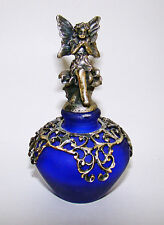 """Velvet glass and pewter perfume bottle with fairy princes stopper 2 ¾"""""""