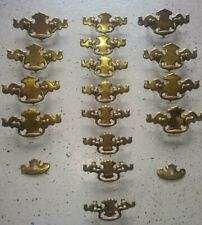 Lot of 16 Drawer Pulls Handles Drop 2 Different Sizes Brass Patina Chippendale