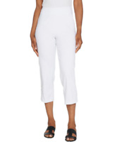 Joan Rivers Petite Pull-On Cropped Pants w/Lace Up Detail - White - Petite Large