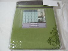 New Crest Home Design Collection ECO Embroidered Shower Curtain Green- Chocolate