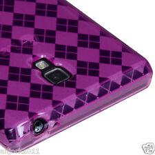 LG Optimus L9 P769 T-Mobile Soft TPU Gel Skin Cover Candy Case Hot Pink Checker