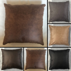 Premium Faux Distressed Leather Cushion Cover Handmade Pillow Case Sofa Bed