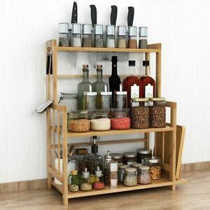 3Tier Standing Spice Rack Kitchen Countertop Storage Organizer & Knife Holder UK