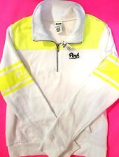 Victorias Secret PINK Half Zip Pullover Hoodie Sweatsshirt NEON Yellow White