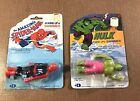 Lot of two Vintage Super Hero Wind-up Swimmers Sealed on cards Spiderman Hulk 79