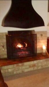 Decorative Fire Canopy. Blacksmith made. Excellent cond. Black with stud trim.