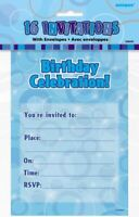 GLITZ BLUE NOTEPAD INVITATIONS PACK OF 16 PARTY INVITES