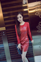 Korean Style Causel Long Sleeve Lady Dress Winter Autumn Collar Lace PU Leather
