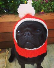 El Perro Navidad Santa Sombrero Redecilla Para Su Perro. Pug, Sombrero Sombrero Bobble Disfraz.