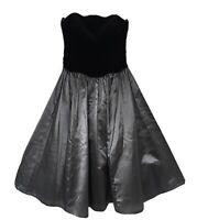 Vintage Laura Ashley Strapless Ball Dress Black Velvet & Bronze Taffeta fit UK 8