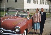 Ford Custom Deluxe Car Pretty Woman 1950s 35mm Slide Red Border Kodachrome