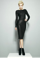 Robert Rodriguez Black Stretch Long Sleeve Leather Dress Size 6 $1595 Sold Out!