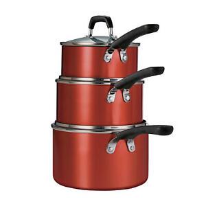 Tramontina, 6-Piece Stackable Nonstick Sauce Pan Set w Lids (Choose Color)