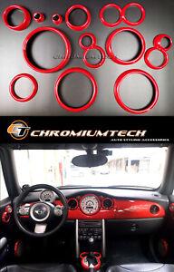 2001-2006 BMW MINI Cooper/S/ONE R50 R52 R53 Red Interior Dial Trim Kit 12pc.