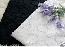 "1y Embroidery Flower Eyelet Cotton Lace Fabric - 90cm(36"" )x 140cm(55"") yh1523"