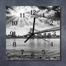 Glass Wall Clock Kitchen Clocks 30x30 cm silent Bridge Grey
