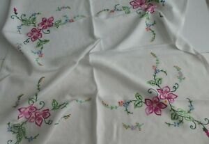 Vintage/Retro c 1950's Hand Embroidered Tablecloth  Embroidered Flowers, Leaves
